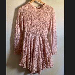 Dusty Rose Long Sleeve Lace Party dress